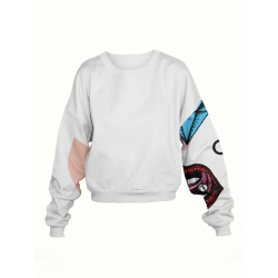 Sweatshirt galben cu imprimeu floral maneci My Simplicated
