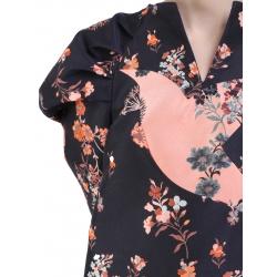 Rochie neagra mini cu imprimeu floral Florentina Giol