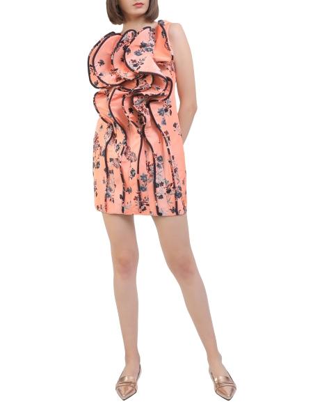 Rochie mini corai cu volane aplicate Florentina Giol