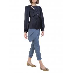 Bluza bleumarin cu maneca lunga si decolteu asimetric Florentina Giol