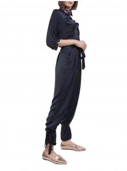 Pantaloni bleumarin cu talie inalta si sireturi Florentina Gioll