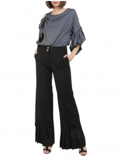 Black flared viscose trousers with ruffles Florentina Giol