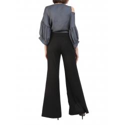 Pantaloni negri evazati din viscosa cu volane Florentina Giol