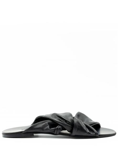 Papuci negri din piele naturala Knot