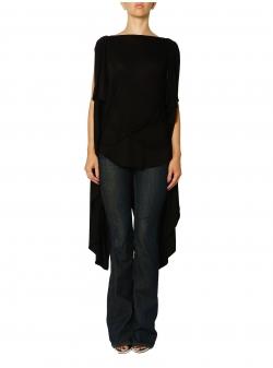 Bluza neagra asimetrica cu sireturi Larisa Dragna