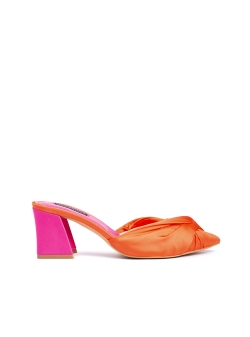 Saboti din satin orange cu toc fucsia Ava Ginissima