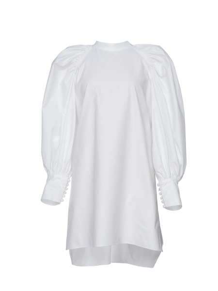 Mini White Dress with Puff Sleeves Parlor