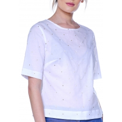 White T-shirt with polka dots DoubleYou