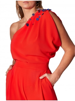 Red Blouse with one Shoulder Ramo Roso