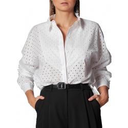 White Cotton Shirt Ramo Roso