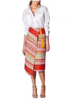 Multicolored Brocade Skirt Ramo Roso