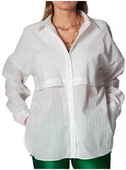 Oversized White Cotton Shirt Ramo Roso