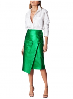 Green Denim Skirt Ramo Roso