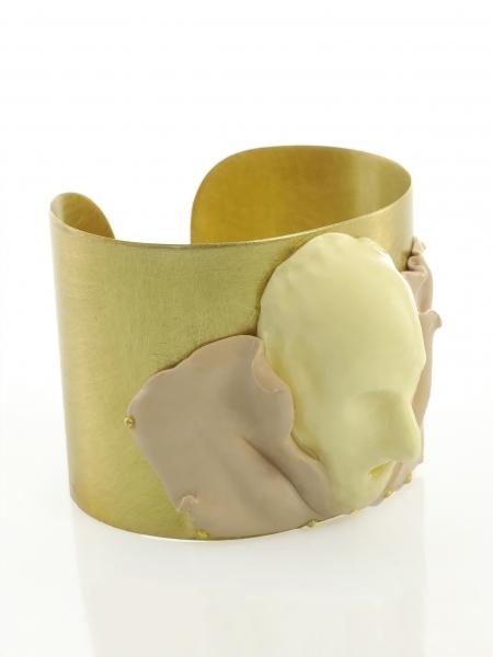 Candy Beige Butter White Gold Cuff Maria Filipescu