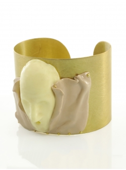 Candy Beige Butter White Gold Cuff Maria Filipescu