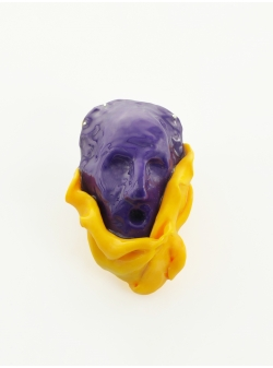 Candy Yellow Violet Portrait Brooch Maria Filipescu