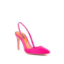 Pantofi din satin fucsia cu interior portocaliu Ginissima