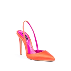 Pantofi din satin orange cu interior roz Ginissima