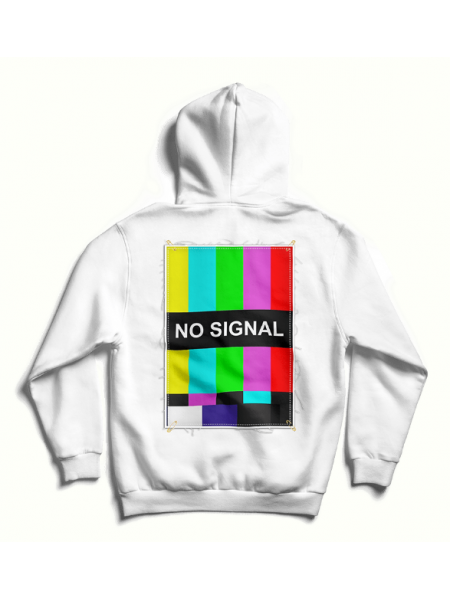 White oversized hoodie with back print MySimplicated