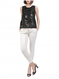 Sequins White Trousers Entino
