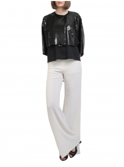 White Wide Leg Trousers Entino