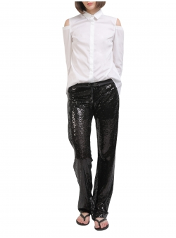Pantaloni negri cu paiete Entino