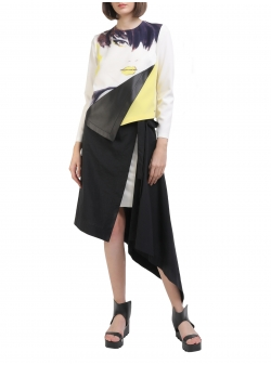 Asymmetrical Blouse with Digital Print Entino