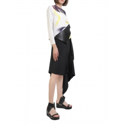 Asymmetrical Blouse with Digital Print Entino