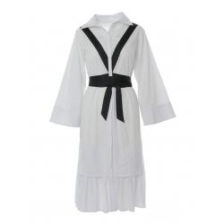 White Midi Dress with Ribon Detalis Larisa Dragna