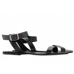 Black natural leather sandals Stripe Meekee