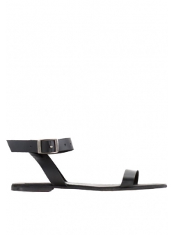 Black natural leather sandals Stripe Meekee