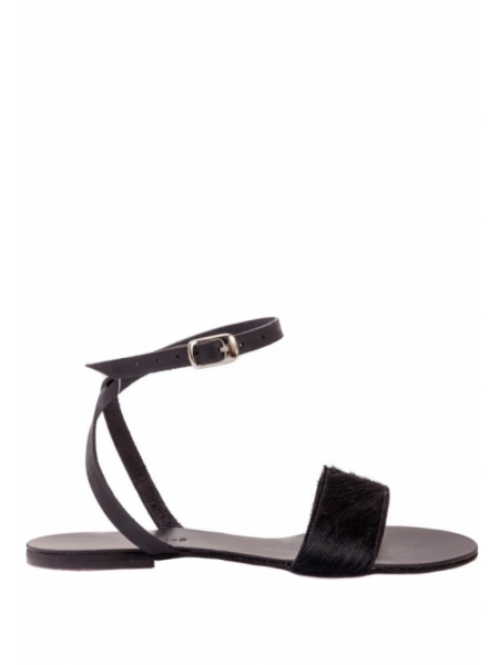 Black natural leather sandals with fur Meekee