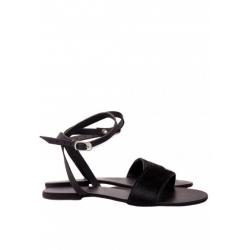 Sandale negre cu blana naturala Meekee