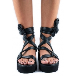 Sandale negre din piele Web Meekee