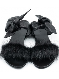 Black Sandals Furry Meekee