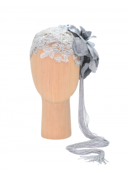 Lace Accesory Silver Flapper DeCorina Hats