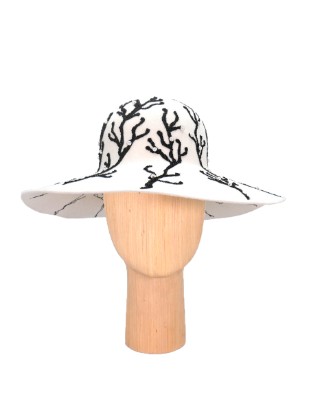 White Hat with lace and beads DeCorina Hat