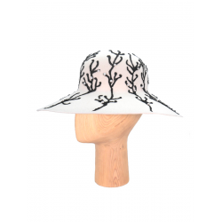 Palarie alba cu broderie si margele DeCorina Hats