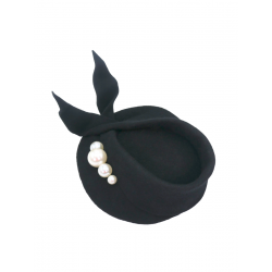 Black Hat with Pearls DeCorina Hats