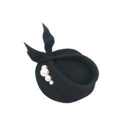 Palarie neagra cu perle Hirundo DeCorina Hats