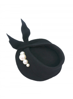 Black Hat with Pearls DeCorina Hats