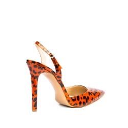 Pantofi orange animal print din lac Ginissima