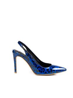 Pantofi albastri animal print din lac Ginissima