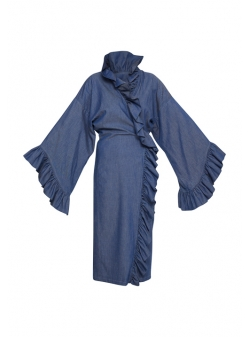 Blue Denim Ruffles Dress Afmf