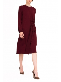 Burgundy Midi Dress with ruffles Bluzat