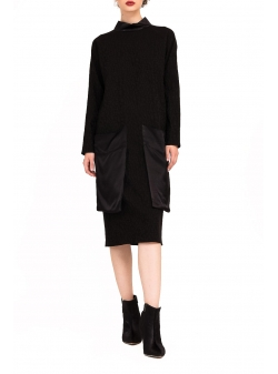 Black dress with oversized pockets Bluzat