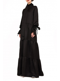 Black long Dress with Ruffles Bluzat