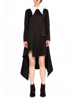 Asymmetric Black Dress Bluzat