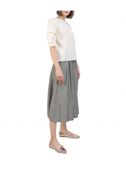 Grey midi cotton-blend skirt-trousers Oana Manolescu