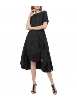 Black viscose midi dress Oana Manolescu